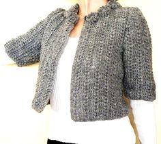 Beautiful Gray Crochet Cardigan or Bolero- Medium - Mini cardigan- Short sleeved cardigan- Unique gift for her-  Unique cardigan