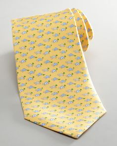 Striped Turtles Tie, Yellow by Salvatore Ferragamo at Neiman Marcus.