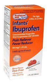 IBUPROFEN DROPS INFNT BRRY*KPP , DYE FREE by ACTAVIS - OTC. $4.25. Relieves minor aches and pains due to the common cold, flu, sore throat, headaches and toothaches, teething and immunization.