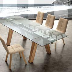 Albenga+tavolo+da+pranzo+allungabile+in+legno+massello+acciaio+e+vetro+240cm