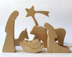 Natividad de madera guardería NATURAL Natividad por LovingWoodCom