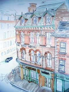 Watercolour, study for hotel facade conservation work.