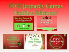 FIVE Jeopardy Games in one pack! Kindergarten, 1st, 2nd, and 3rd Grade Math Holiday Edition Jeopardy Games AND Holiday Jeopardy including Christmas, Hanukkah, Kwanzaa, and New Years! $3 now for the bundle! Or find each game for $1