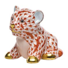 """Herend Hand Painted Porcelain Figurine """"Little Tiger Cub"""" Rust Fishnet  Gold Accents."""