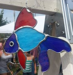Blue Red Fish stained glass by VioletGlass123 on Etsy, $30.00