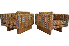Midcentury Cube Chairs, Pair