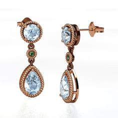The Belle Earrings #customizable #jewelry #aquamarine #emerald #rosegold #earrings