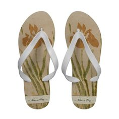 Classic vintage japanese sumi-e flower floral art Flip-Flops #flipflops #slippers #floral #flowers #art #vintage