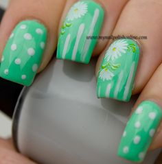Nail Art – flowers, dots and stripes