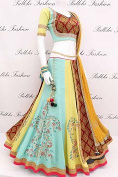 Gorgeous Flap Hand Work Gaji Silk Chaniya Choli With Attractive Color Combination Choli Designs, Lehenga Designs, Blouse Designs, Hi Fashion, India Fashion, Fashion Outfits, Fashion Clothes, Lehenga Saree, Saree Dress