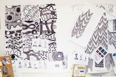 Zandra Rhodes – Fashion Designer at Home and her Studio in London « The Selby Textile Prints, Textile Design, Textiles, Color Patterns, Print Patterns, Pattern Print, Botanical Fashion, Zandra Rhodes, Fashion Design Sketches