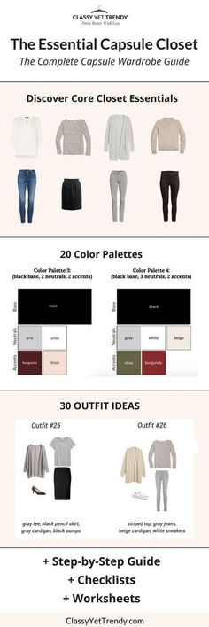 How to start a capsule wardrobe 5 step visual guide classy yet the essential capsule closet the complete capsule wardrobe guide in this 80 page fandeluxe Image collections