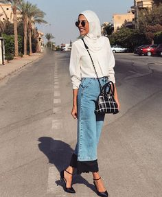 Modern Muslim fashion Mipster // Muslim hipsters jeans skirt #style