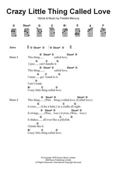 Tab chitarra Crazy Little Thing Called Love di Queen - Ukulele Guitar Chords And Lyrics, Guitar Strumming, Easy Guitar Songs, Guitar Chords For Songs, Uke Songs, Ukulele Tabs, Learn Acoustic Guitar, Learn Guitar Chords, Ukulele Songs Beginner