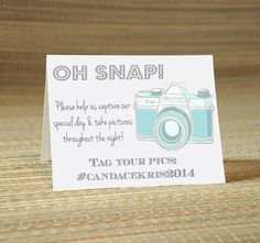 Instagram Facebook Twitter My Wedding Hashtag Cards -Wedding Party Social Media Place Cards
