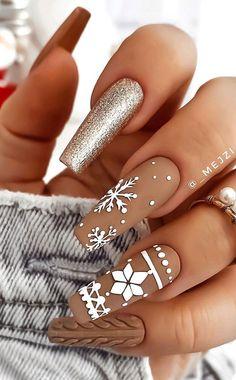 Acrylic Nail Designs Coffin, Purple Acrylic Nails, Gold Glitter Nails, Best Acrylic Nails, Winter Acrylic Nails, Red Nail Designs, Winter Nail Designs, Cute Christmas Nails, Xmas Nails