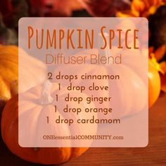 pumpkin spice diffuser blend PLUS recipes for 20 fall diffuser blends -- easy…