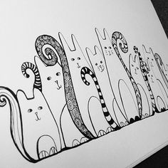 Sneaky cats - wip #doodle #fineliner #cats #blackandwhite | Flickr - Photo Sharing!