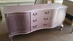 Painted sideboard table desk metallic pink lilac pearl shabby chic chalk paint