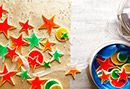 - Glazed Holiday Cookies ( ANY HOLIDAY ) - The Pioneer Woman - Ree Drummond, host of the Food Network show. - Rather than frosting after baking, just brush on a colored egg wash before the cookies go in the oven, which creates a stained-glass effect.