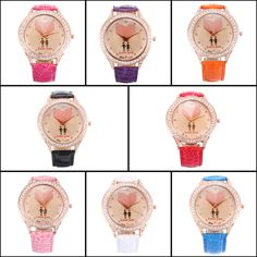 Crystal Heart Love You Leather Band Quartz Wrist Watch