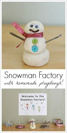 Make your own snowman using homemade playdough at The Snowman Factory! Makes a great classroom center for winter sensory play or a fun invitation to create at home! ~ BuggyandBuddy.com