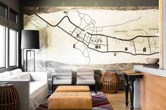 Huge map of Napa County in the hotel lobby of Andaz Napa.
