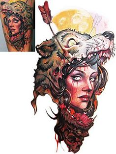Novoskins Professional Artist Temporary Tattoo hand painted waterproof transfer 'Wolf Hunter' design (20cm x 11cm) - http://www.yourdreamtattoos.com/novoskins-professional-artist-temporary-tattoo-hand-painted-waterproof-transfer-wolf-hunter-design-20cm-x-11cm/?utm_source=PN&utm_medium=http%3A%2F%2Fwww.pinterest.com%2Fpin%2F368450813235896433&utm_campaign=SNAP%2Bfrom%2BYour+Dream+Tattoo
