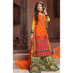 Party Wear Orange Georgette Palazzo Suit  - BRIDAL09