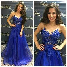 Royal Blue Prom Dresses Long Lace Appliques Beaded Sheer O-Neck Button Back Organza Sexy Evening Party Gowns Robe De Soiree Royal Blue Prom Dresses, Beautiful Prom Dresses, Grad Dresses, Homecoming Dresses, Blue Dresses, Bridesmaid Dresses, Party Dresses, Mothers Dresses, A Line Evening Dress