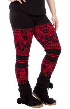 Black & Red Gingerdead Man Leggings from Sourpuss Clothing (Medium)