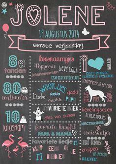 eerste verjaardag krijtbord meisje flamingo origineel