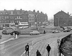 London Rd, Moorfoot The old Redgates toy shop used to be approx where the bus is; Sources Of Iron, Sheffield England, South Yorkshire, Derbyshire, Pinterest Marketing, Black History, Media Marketing, 1940s, Britain