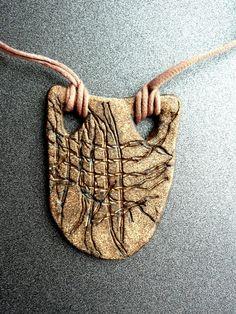 Ceramic Jewelry Stoneware Pendant Necklace - LARGE SHIELD on Etsy, $15.65