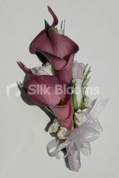 white calla lilly bouquets | Calla Lily & White Rose Bud Wedding Corsage Beautiful Lilac Calla Lily ...