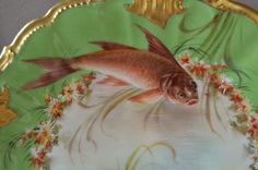 French Limoges Porcelain China Plate Signed Henry Fish and Gilt