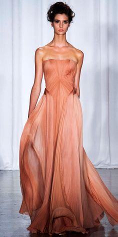 ZAC POSEN: Blush hand-plisse silk chiffon bustier gown