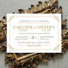 Printable Wedding Invitation PDF / 'Glamourous Gatsby' Art Deco Invitation / Gold and Grey / Digital File Only /  Printing Also Available