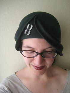 Very cute handmade hat - Forest Green Wool Felt Asymmetrical Draped Hat  by AlliCatCrafts