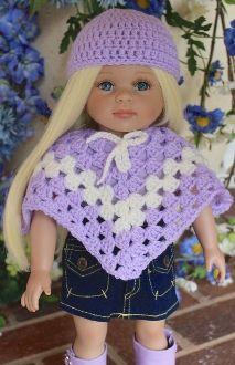 fff. lavender poncho, hat, lavender tee, skirt, boots