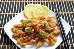 http://asiafinefood.com · Recipe Best of Asian Recipes – Boneless lemon chicken (ga chien don sot chanh)·Ingredients 2 Chicken breasts (about 400g/ 13oz) cup Flour 1 cup Chicken stock 1 large Lemon, juice of Few drops yellow food colour Cooking