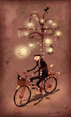 Illustration by Lee White, via Behance... @Danielle Lampert Lampert  From my dear soul sister for Hanukkah...  Bike as Menorah; spreading the light
