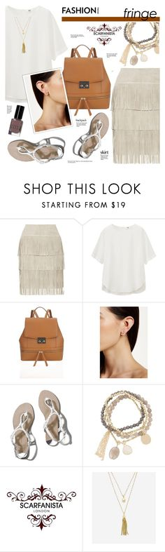 """""""Scarfanista London-16(Fringe skirt-backpack)"""" by cly88 ❤ liked on Polyvore featuring Illia, Uniqlo, Nadri, Abercrombie & Fitch, DesignSix, Cole Haan and Bobbi Brown Cosmetics"""
