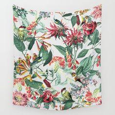 Botanical Garden II Wall Tapestry #botanical #floral #animals #birds #wallart #homedecor