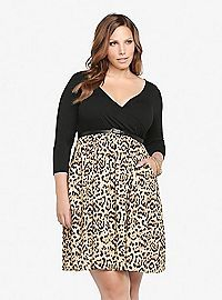 TORRID.COM - Animal Print Knit-To-Woven Belted Dress