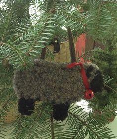 Primitive hooked Christmas Sheep Ornament by PrimitivesByCarolRae, $20.00