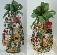 """Christmas Tree Advent Calendar - Checkout my blog to see a tutorial on how to make this tree. """"Artfully Musing"""" at http://artfullymusing.blogspot.com"""