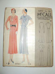 1932 McCall's Pattern # 6897 - Ladies & Misses Dress - Complete Uncut Size 16