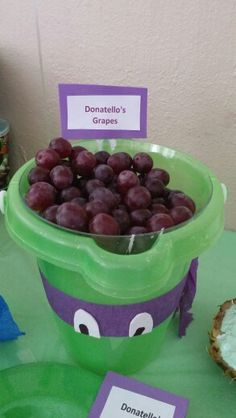 #Donatellos #grapes (Sand buckets and clear bowls from the dollar tree party streamers white foam for eyes colored black part of eye on with marker glued everything on with hot glue gun)