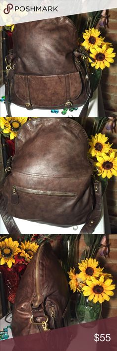 Sabina Leather Bag Sz 16x17- Good condition- Genuine leather- Clean interior- Very roomy- Very nice. Sabina Bags Shoulder Bags